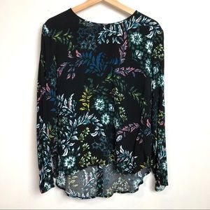 H&M• Black with floral print long sleeve hi lo top